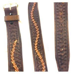 Accessories - Leather boho style belt - brown leather SZ 32